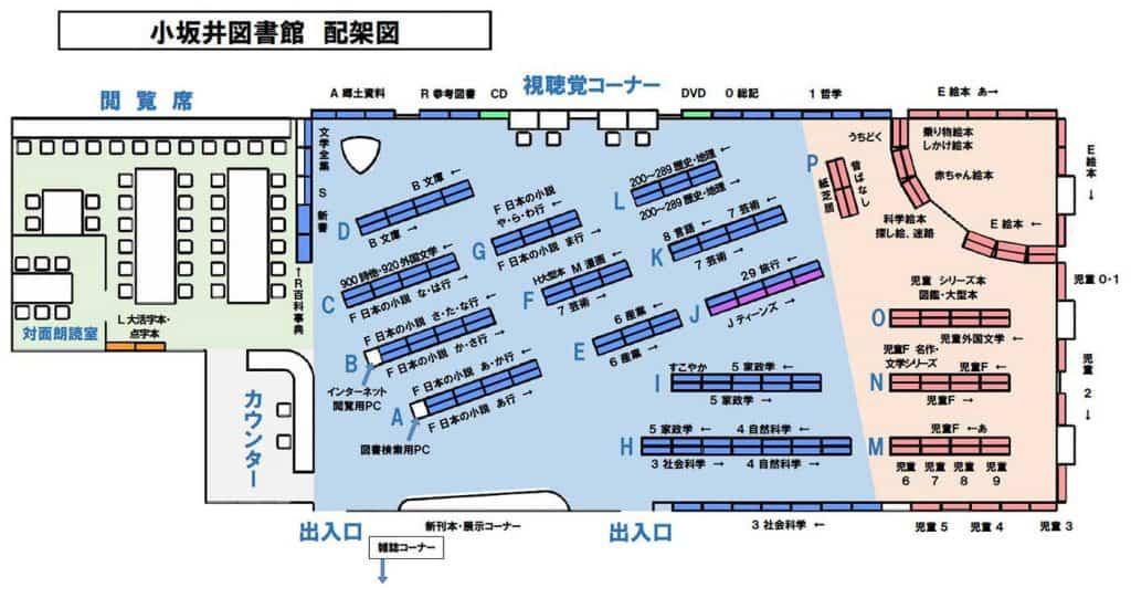 小坂井図書館の排架図